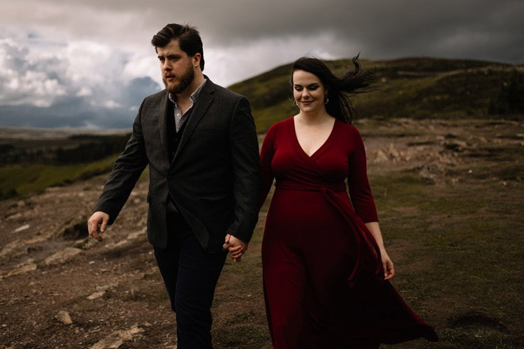 025 wicklow engagement session mountains moody style weather american couple