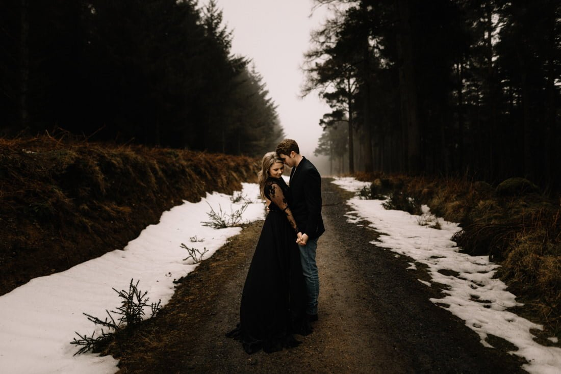A Snowy Winter Anniversary Session in Wicklow Mountains